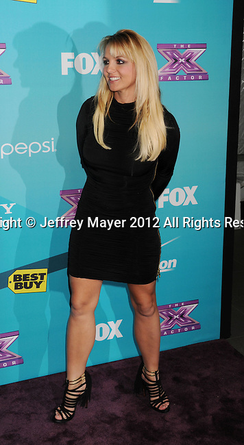 LOS ANGELES, CA - NOVEMBER 05: Britney Spears arrives at FOX's 'The X Factor' finalists party at The Bazaar at the SLS Hotel Beverly Hills on November 5, 2012 in Los Angeles, California.