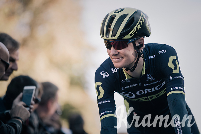 Jack Haig (AUS/ORICA-Scott) on his way to sign-on<br /> <br /> Il Lombardia 2017<br /> Bergamo to Como (ITA) 247km