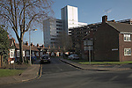 Inner city urban land use contrasts, high rise offices and low rise council estate bungalows, Ipswich, Sufolk, England