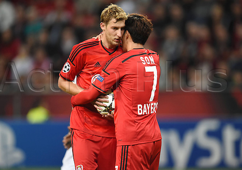 27.08.2014. Leverkusen, Germany. UEFA Champions League qualification match. Bayer Leverkusen versus FC Copenhagen.   Heung Min Son (Bayer 04 Leverkusen)celebrates with Stefan Kiessling(Bayer 04 Leverkusen)
