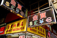 HONG KONG, MARCH 09: A currency exchange booth shows symbols of different currencies including Hong Kong dollars and Chinese yuans (RMB), on March 9, 2015, in Hong Kong. (Photo by Lucas Schifres/Pictobank)