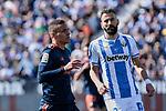 CD Leganes's Dimitrios Siovas and Valencia CF' Rodrigo Moreno during La Liga match, Round 25 between CD Leganes and Valencia CF at Butarque Stadium in Leganes, Spain. February 24, 2019. (ALTERPHOTOS/A. Perez Meca)