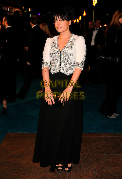 "LILY ALLEN.""The Other Boleyn Girl"" Royal Film Premiere, Odeon Cinema, Leicester Square, London, England..February 19th, 2008.full length fringe black skirt dress white shirt top blouse patterned buttons clutch bag .CAP/CAN.©Can Nguyen/Capital Pictures."