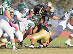 Palos Verdes, CA 10/07/16 - unidentified Mira Costa player(s) and unidentified Peninsula player(s) in action during the CIF Bay League game between Mira Costa and Peninsula.