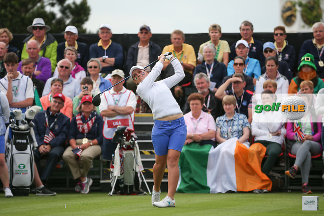 Charlotte Thomas on the first tee during Friday Foursomes at the 2016 Curtis Cup, played at Dun Laoghaire GC, Enniskerry, Co Wicklow, Ireland. 10/06/2016. Picture: David Lloyd | Golffile. <br /> <br /> All photo usage must display a mandatory copyright credit to &copy; Golffile | David Lloyd.