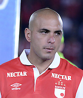 BOGOTÁ -COLOMBIA, 24-01-2014. Omar Perez jugador de Santa Fe previo al encuentro entre Independiente Santa Fe e Itaguí por la fecha 1 Liga Postobón  I 2014 disputado en el estadio el Campín de la ciudad de Bogotá./ Omar Perez player of Santa Fe prior a match between Independiente Santa Fe and Itagui for the first date for the Postobon  League I 2014 played at El Campin stadium in Bogotá city. Photo: VizzorImage/ Gabriel Aponte / Staff