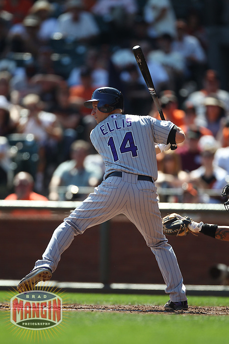 SAN FRANCISCO - SEPTEMBER 28:  Mark Ellis #14 of the Colorado Rockies bats against the San Francisco Giants during the game at AT&T Park on September 28, 2011 in San Francisco, California. Photo by Brad Mangin
