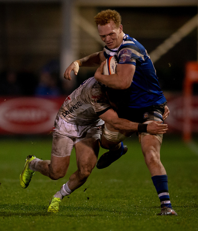 Bath Rugby's Miles Reid in action during todays match<br /> <br /> Photographer Bob Bradford/CameraSport<br /> <br /> Gallagher Premiership - Bath Rugby v Gloucester Rugby - Monday 4th February 2019 - The Recreation Ground - Bath<br /> <br /> World Copyright &copy; 2019 CameraSport. All rights reserved. 43 Linden Ave. Countesthorpe. Leicester. England. LE8 5PG - Tel: +44 (0) 116 277 4147 - admin@camerasport.com - www.camerasport.com