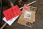 "Discarded placards at the end of the ""Put it to the People"" rally which made it's way through central London today. Demonstrators from across the country gathered to call for a second referendum on Brexit and to march through the UK capital finishing with speeches in Parliament Square opposite the Houses of Parliament in Westminster."