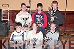 TROPHIES: Members of the Kingdom Hod Rod Club who were presented with trophies at a function in the Listowel Arms Hotel on Sunday night. Front from left: Aoife Greaney, Broadford, Stephen Relihan, Brosna, Nigel Brouder, Athea, Niamh Greaney, Broadford, Jerry Hannon, Lyreacrompane, Mike Relihan, Brosna, Liam Griffin, Cordal, and Rachel Stamp, Abbeyfeale. Back from left, Con Greaney, Broadford, Des Brouder, Athea, Mike McElligott, Abbeyfeale, Mike Murphy, Abbeyfeale, Tim Lynch, Listowel, Emma Stack, Abbeyfeale, Dennis Griffin, Cordal, Noel McNamara, Templeglantine, Fergus Griffin, Cordal, Samantha and John McElligott, Listowel..