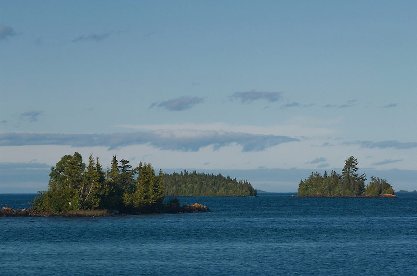Small islands stud Lake Superior at Isle Royale National Park.