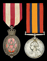BNPS.co.uk (01202) 558833Pic: DNW/BNPS<br /> <br /> Alexander Stewart's bravey medals. Albert Medal (L) and Queen's South Africa Medal.<br /> <br /> <br /> A bravery medal awarded at the behest of Winston Churchill to a train driver who tried to save the future Prime Minister from being captured during the Boer War has come to light.<br /> <br /> A young Churchill roused wounded driver Charles Wagner and engine firemen Alexander Stewart into action after their armoured train was attacked and derailed by enemy soldiers.<br /> <br /> Churchill, then a newspaper war correspondent, talked Wagner out of fleeing the scene and remain in his engine cab in order to clear the blocked line.<br /> <br /> Although he was captured, Churchill later escaped and insisted both men be awarded the Albert Medal.