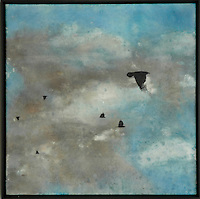 Crows in cloudy sky mixed media encaustic photo transfer by Jeff League.