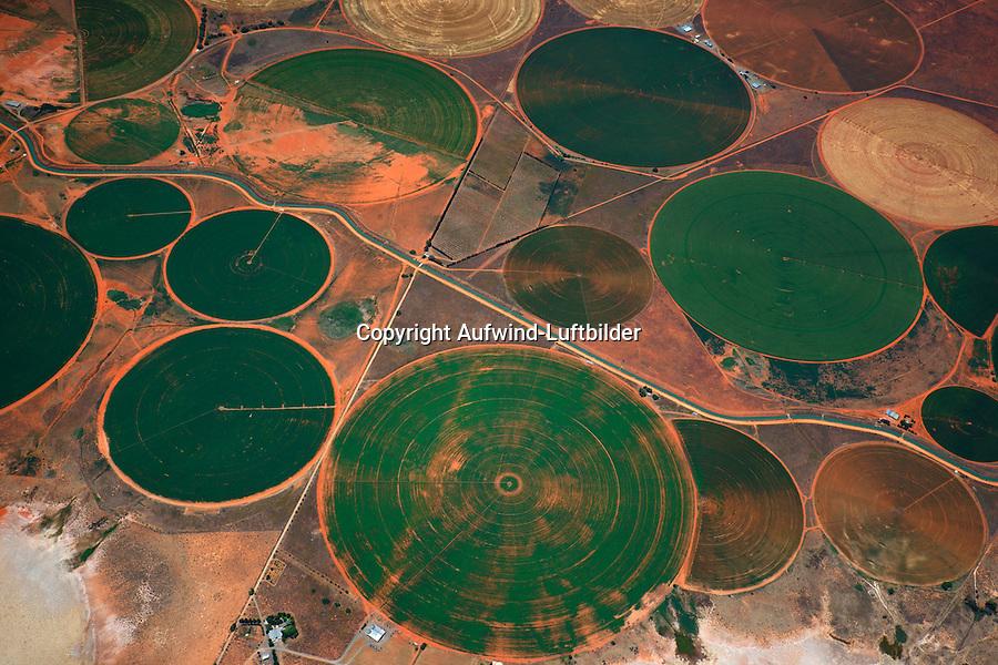 Felder im Kreis am Oranje: AFRIKA, SUEDAFRIKA, 12.01.2014: Felder im Kreis am Oranje. Bewaesserung von grossen Flaechen in der Wueste Karoo