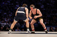 STATE COLLEGE, PA - FEBRUARY 8: Sammy Brooks of the Iowa Hawkeyes and Matt McCutcheon of the Penn State Nittany Lions during their match on February 8, 2015 at the Bryce Jordan Center on the campus of Penn State University in State College, Pennsylvania. The Hawkeyes won 18-12. (Photo by Hunter Martin/Getty Images) *** Local Caption *** Matt McCutcheon;Sammy Brooks