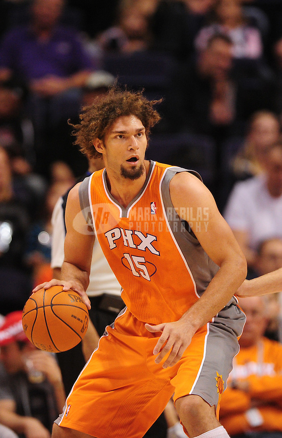 Dec. 26, 2011; Phoenix, AZ, USA; Phoenix Suns center Robin Lopez during game against the New Orleans Hornets at the US Airways Center. The Hornets defeated the Suns 85-84. Mandatory Credit: Mark J. Rebilas-USA TODAY Sports