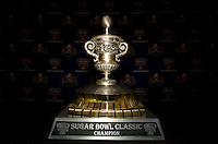 Sugar Bowl Trophy is pictured during Head Coaches Press Conference at Marriott Hotel at the Convention Center on January 2nd, 2012.