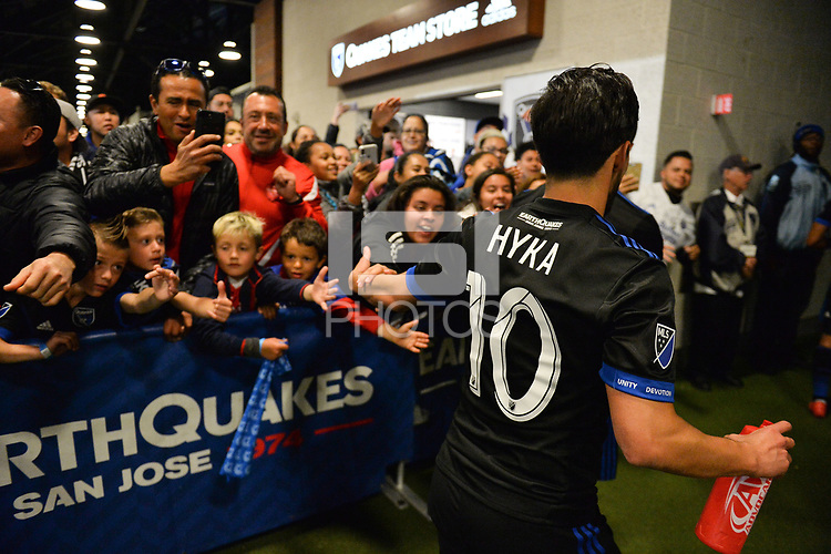 San Jose, CA - Saturday April 14, 2018: Jahmir Hyka, fans during a Major League Soccer (MLS) match between the San Jose Earthquakes and the Houston Dynamo at Avaya Stadium.