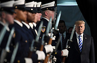 U.S. President Donald Trump participates in the U.S. Coast Guard Change-of-Command Ceremony on June 1, 2018 at the U.S. Coast Guard Headquarters in Washington, DC. <br /> CAP/MPI/RS<br /> &copy;RS/MPI/Capital Pictures