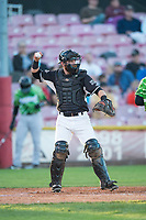 Salem-Keizer Volcanoes catcher Will Albertson (1) throws back to the pitcher during a Northwest League game against the Eugene Emeralds at Volcanoes Stadium on August 31, 2018 in Keizer, Oregon. The Eugene Emeralds defeated the Salem-Keizer Volcanoes by a score of 7-3. (Zachary Lucy/Four Seam Images)