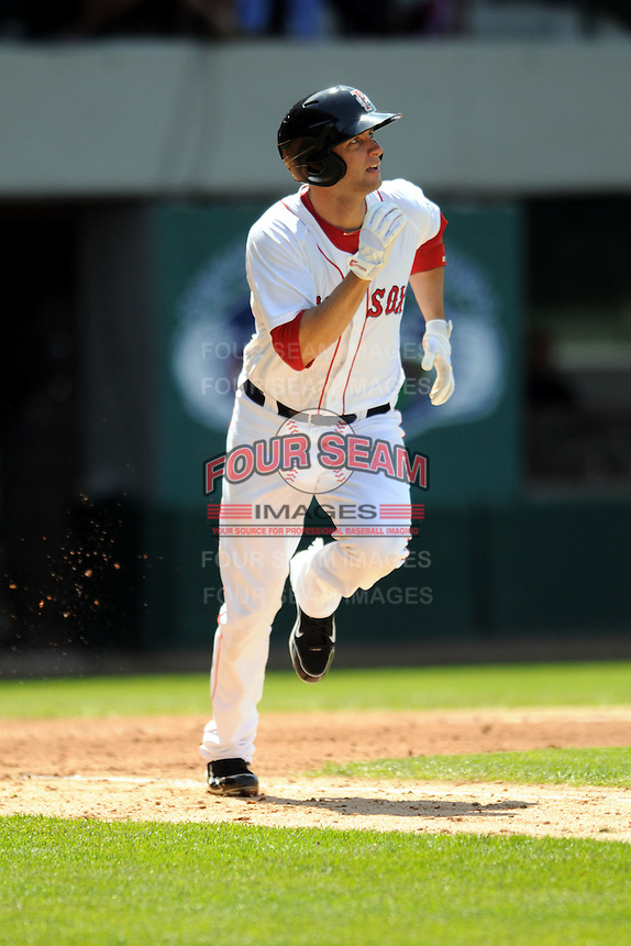 Pawtucket Red Sox outfielder Alex Hassan #29 during a game versus the Columbus Clippers at McCoy Stadium in Pawtucket, Rhode Island on May 13, 2012.   (Ken Babbitt/Four Seam Images)
