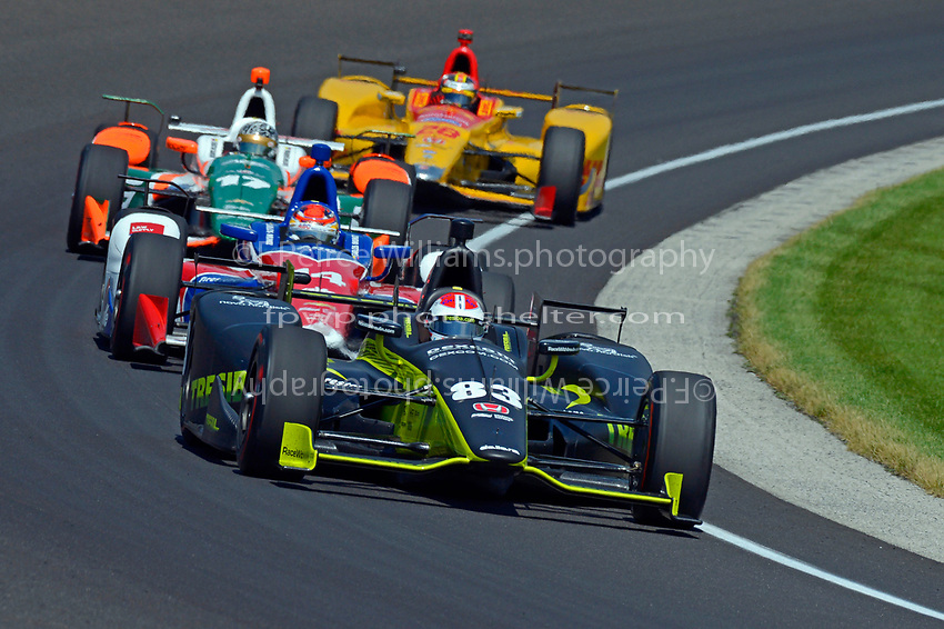 Verizon IndyCar Series<br /> Indianapolis 500 Carb Day<br /> Indianapolis Motor Speedway, Indianapolis, IN USA<br /> Friday 26 May 2017<br /> Charlie Kimball, Chip Ganassi Racing Teams Honda, Carlos Munoz, A.J. Foyt Enterprises Chevrolet, Sebastian Saavedra, Juncos Racing Chevrolet, Ryan Hunter-Reay, Andretti Autosport Honda<br /> World Copyright: F. Peirce Williams