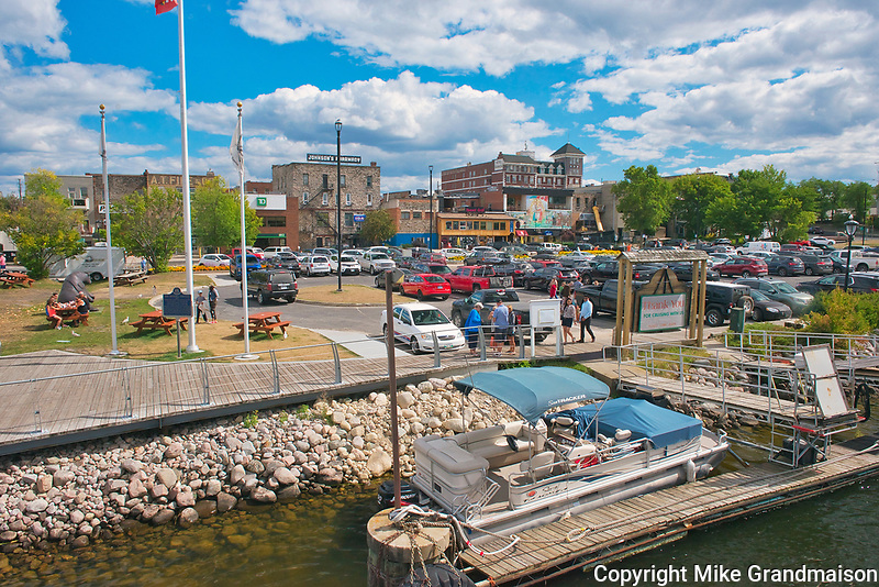 Wharf area and park on Lake of the Woods<br />Kenora<br />Ontario<br />Canada