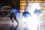 Stockholm 2014-01-18 Ishockey SHL AIK - F&auml;rjestads BK :  <br /> AIK:s Victor Ahlstr&ouml;m o h AIK:s Christian Sandberg &aring;ker ut till match under ett intro<br /> (Foto: Kenta J&ouml;nsson) Nyckelord:  intro r&ouml;k
