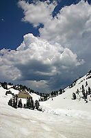 Lassen Volcanic National Park with storm rolling in. Taken in July