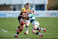 Henry Cheeseman of Richmond is tackled by Will Harries of Ealing Trailfinders. Greene King IPA Championship match, between Richmond and Ealing Trailfinders on March 9, 2019 at the Richmond Athletic Ground in London, England. Photo by: Patrick Khachfe / Onside Images