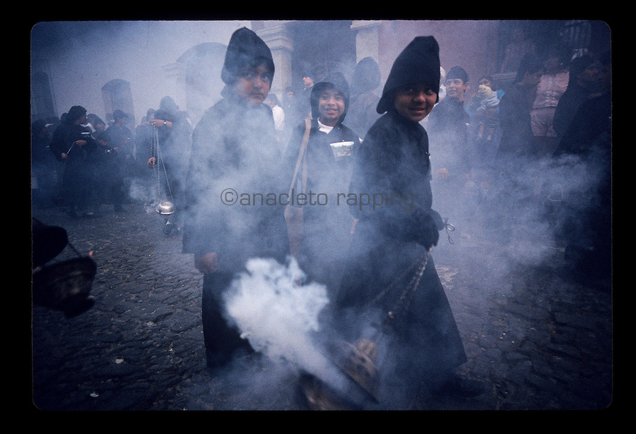Semana Santa (Holy Week), parades and processions through the streets, during Easter week in the city of Antigua, Guatemala. Photos taken April 1993. ©Anacleto Rapping