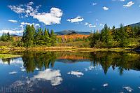 Peak fall colors on the slopes of Mount Lafayette, the highest peak on the Franconia Ridge