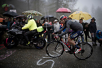 Damiano Caruso (ITA/Bahrain-Merida) up the extremely wet, cold & misty Cole di Mortirolo <br /> <br /> Stage 16: Lovere to Ponte di Legno (194km)<br /> 102nd Giro d'Italia 2019<br /> <br /> ©kramon