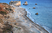 Aphrodite's rock and the beach at Petra Tou Romiou seen from a height.