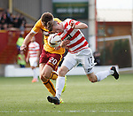 Motherwell's Fraser kerr fouls Hamilton's Louis Longbridge on the edge of the box for a penalty kick