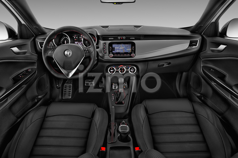 Stock photo of straight dashboard view of 2016 Alfaromeo Giulietta Super 5 Door Hatchback Dashboard