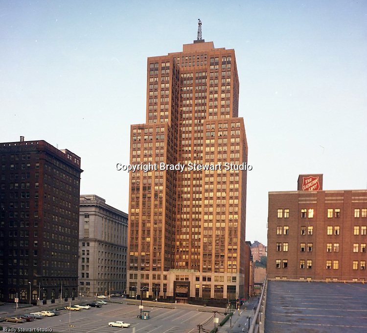 Pittsburgh PA:  View of the Grant Building from the parking garage on Fourth Street.  The Grant Building was built in 1930 and remains an important part of the city's skyline.