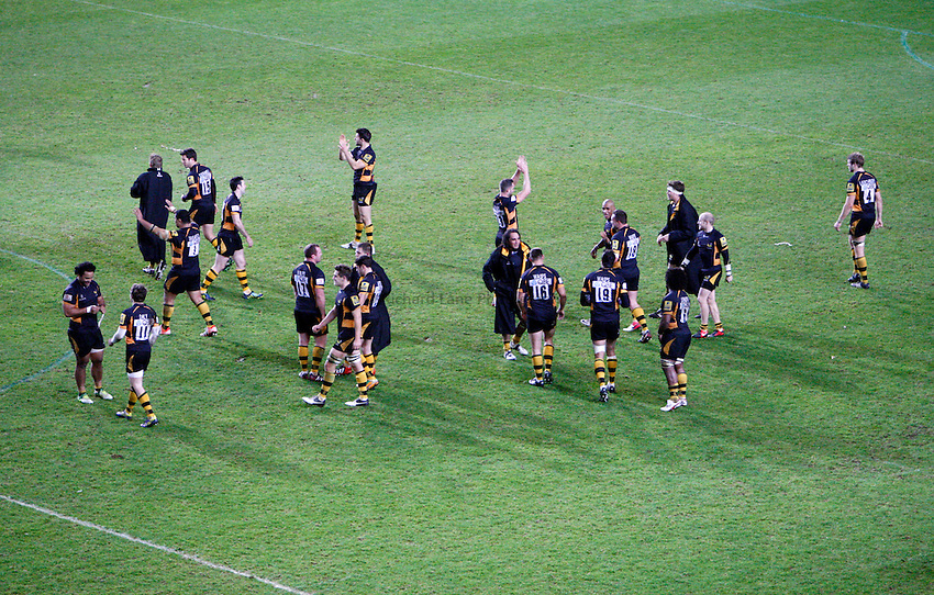 Photo: Richard Lane/Richard Lane Photography. London Welsh v London Wasps. 29/12/2012. Wasps players applaud the travelling supporters.