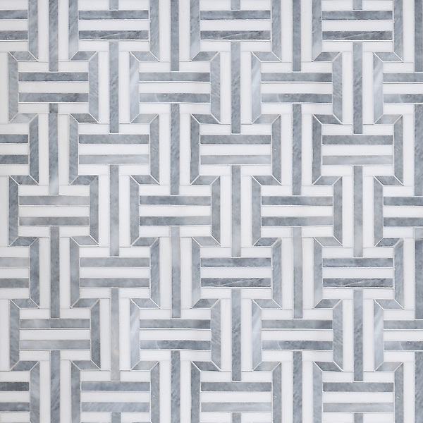Gaston, a handmade mosaic shown in polished Dolomite and Allure, is part of the Illusions™ Collection by Sara Baldwin Designs for New Ravenna.