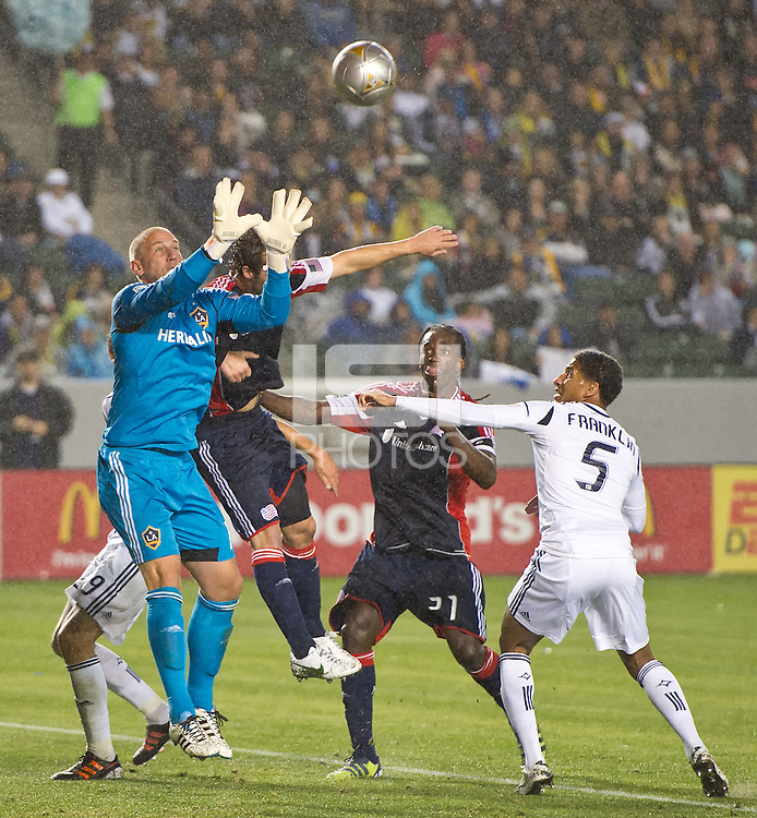 CARSON, CA - March 31, 2012: Josh Saunders (12) of the Galaxy during the LA Galaxy vs New England Revolution match at the Home Depot Center in Carson, California. Final score LA Galaxy 1, New England Revolution 3.