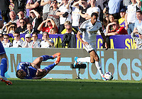 Sunday, 13 April 2014<br /> Pictured L-R: Branislav Ivanovic of Chelsea is fouled by David Ngog of Swansea<br /> Re: Barclay's Premier League, Swansea City FC v Chelsea at the Liberty Stadium, south Wales,