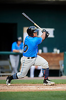 Akron RubberDucks catcher Li-Jen Chu (30) follows through on a swing during a game against the Harrisburg Senators on August 18, 2018 at FNB Field in Harrisburg, Pennsylvania.  Akron defeated Harrisburg 5-1.  (Mike Janes/Four Seam Images)