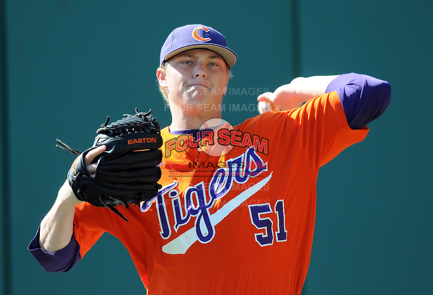 LHP Joseph Moorefield (51) the Clemson Tigers in a game against the Michigan State Spartans Saturday, Feb. 20, 2010, at Fluor Field at the West End in Greenville, S.C. Photo by: Tom Priddy/Four Seam Images