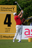 Marcus Fraser (AUS) on the 4th tee during Round 3 of the Maybank Malaysian Open at the Kuala Lumpur Golf & Country Club on Saturday 7th February 2015.<br /> Picture:  Thos Caffrey / www.golffile.ie