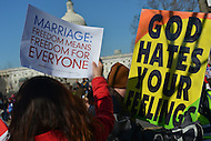 March 26, 2013  (Washington, DC)  Thousands of protesters on both sides of the gay marriage issue gathered in front of the U.S. Supreme Court March 26, 2013, as the Justices heard arguments on California's Proposition 8.  (Photo by Don Baxter/Media Images International)