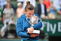 An emotional Simona Halep of Romania after winning the final during Day 14 of the French Open 2018 on June 9, 2018 in Paris, France. (Photo by Dave Winter/Icon Sport)