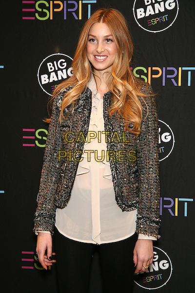 WHITNEY PORT .Attending ESPRIT's Global Big Bang Event to Benefit the SOS Children's Villages around the World at the ESPRIT Flagship Store on 34th Street, New York, NY, USA, November 13th, 2010..half length black leggings grey gray tweed wool jacket white cream top blouse ruffle shirt smiling .CAP/LNC/TOM .©TOM/LNC/Capital Pictures.
