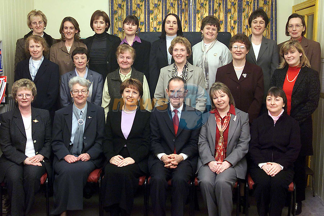 President Mary McAleese and her husband Martin with the staff from Fatima Girls school..Picture: Paul Mohan/Newsfile