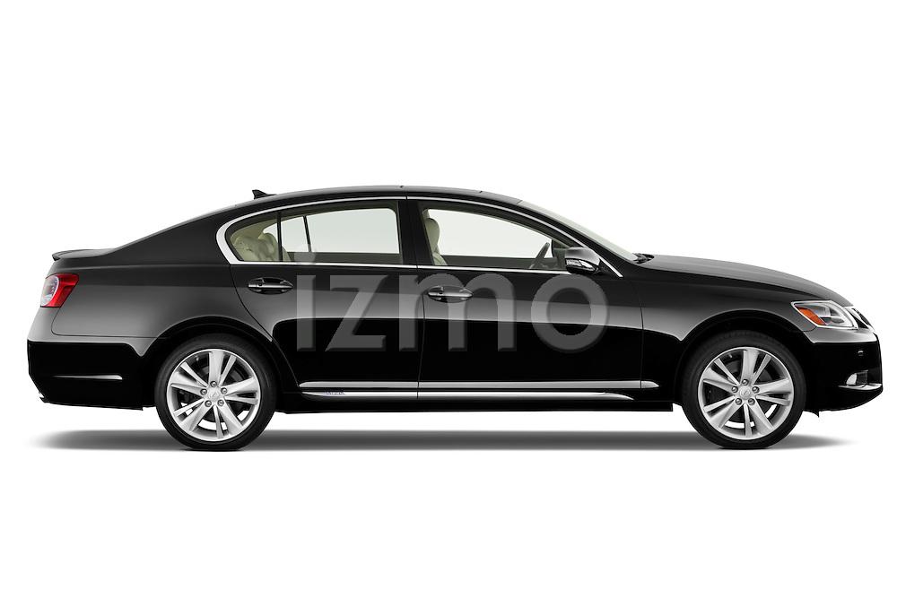 Passenger side profile view of a 2010 Lexus GS Hybrid.