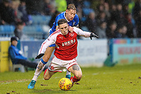 Ashley Hunter of Fleetwood Town is fouled by Lee Martin of Gillingham during the Sky Bet League 1 match between Gillingham and Fleetwood Town at the MEMS Priestfield Stadium, Gillingham, England on 27 January 2018. Photo by David Horn.